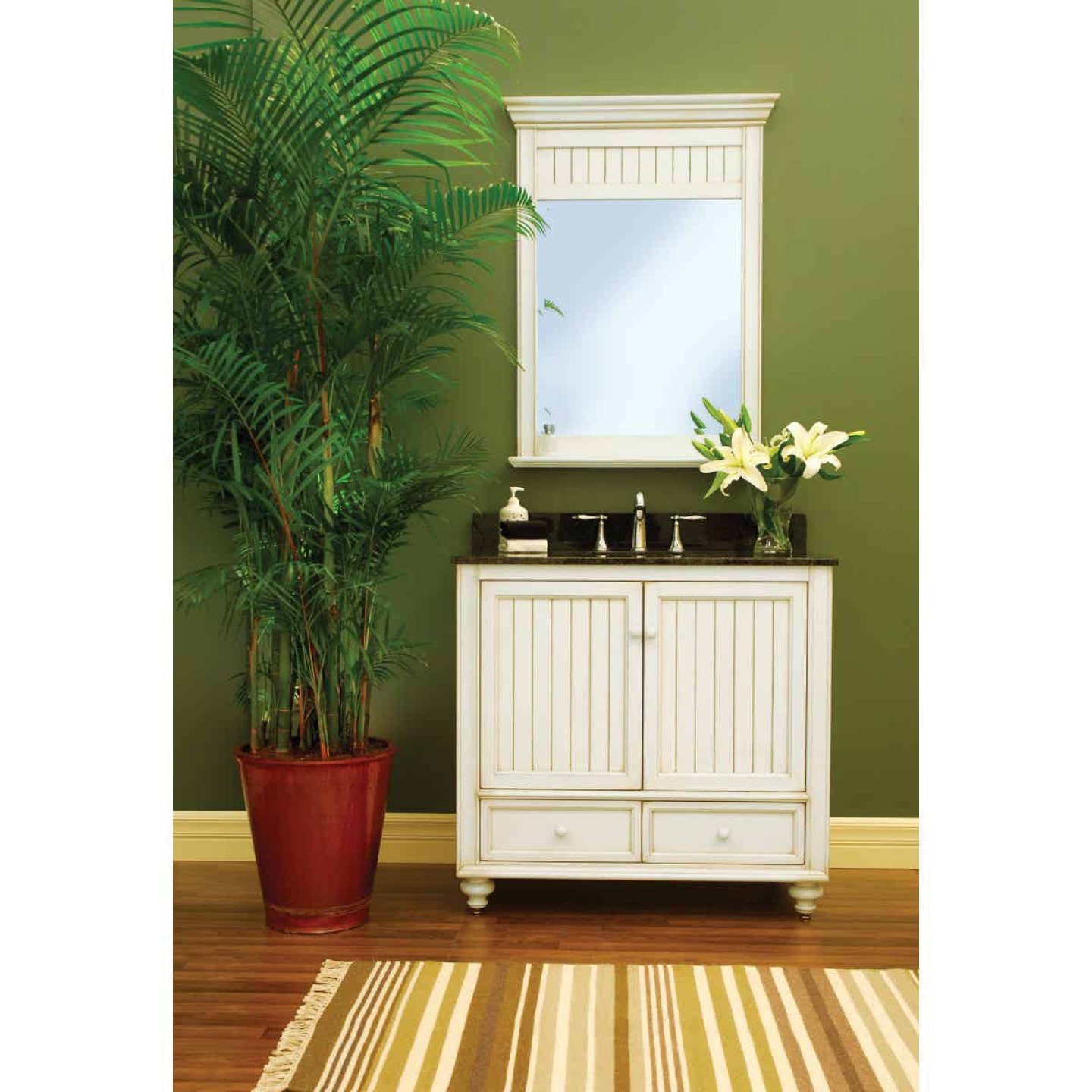 Sunny Wood Bristol Beach White 30 In. W x 40 In. H Vanity Mirror Image 2