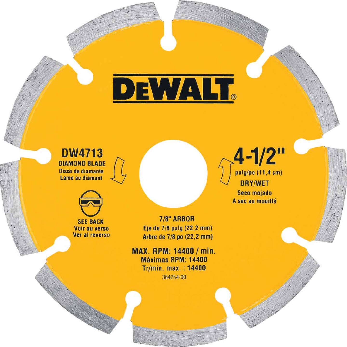 DeWalt Extended Performance  4-1/2 In. Turbo Segmented Rim Dry/Wet Cut Diamond Blade (Bulk) Image 1